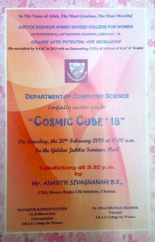 JBAS College for Women, Chennai, Computer Science Department, Chief Guest, Ananth Sivagnanam