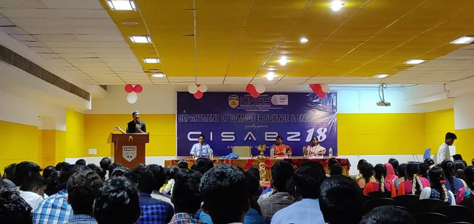Ananth Sivagnanam sharing about inspiring solutions and about social problem solving in CISABZ 2018, Kings College of Engineering, Tanjore