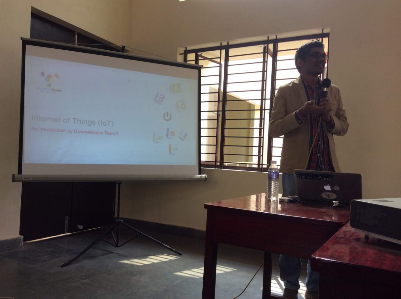 Ananth Sivagnanam in the interactive lecture about IoT trends with MCC B.Sc. C.S. final year students