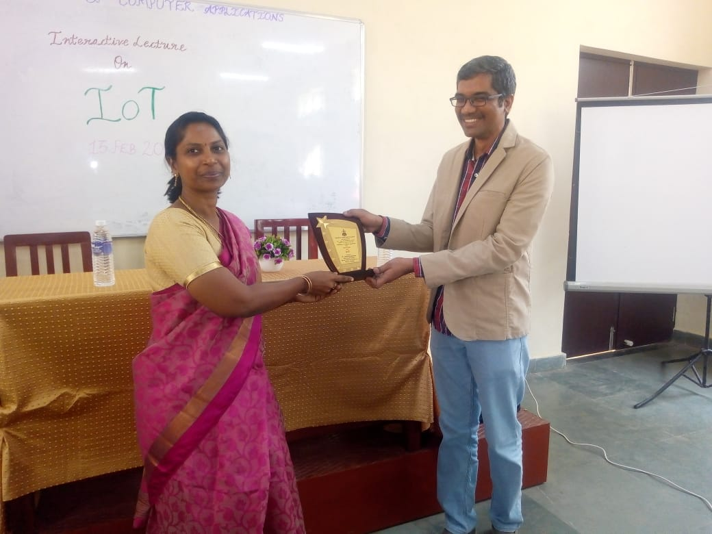 MCC, Dept of CS, HoD, presenting memento to Ananth Sivagnanam of Diverse Brains Life Solutions