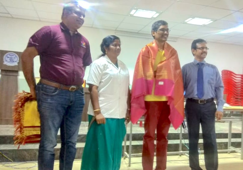 Ananth Sivagnanam felicitated during PR Engineering College Thanjavur BTech students Industry Connect program