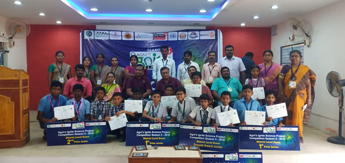 Rtn. Sambasivam Sathyamoorthy along with event organizers and winners of the ignite India 2018-19 contest