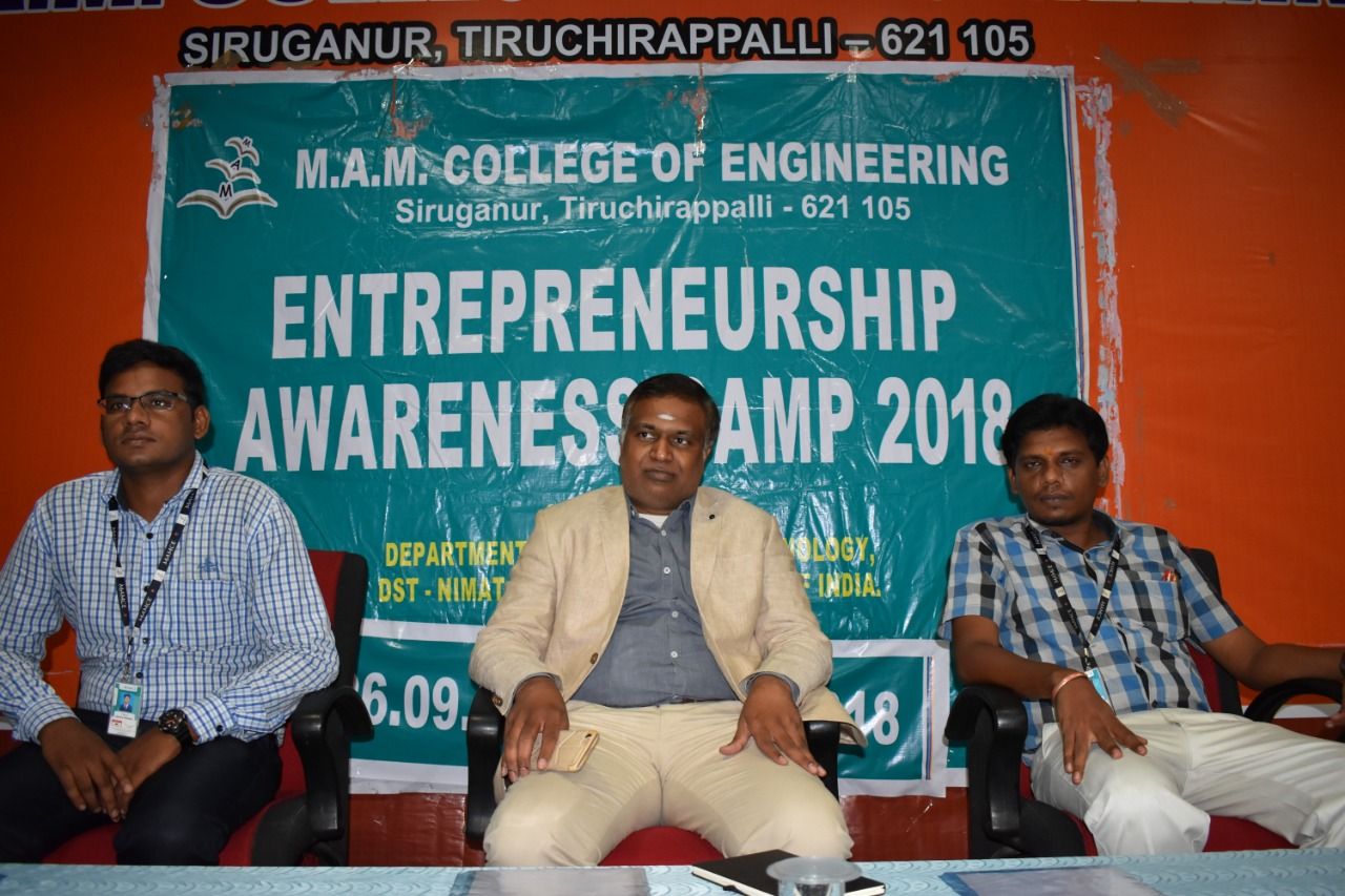 Sambasivam Sathyamoorthy, Director, Diverse Brains Life Solutions, inaugurating Entrepreneurship Awareness Camp 2018 in MAM College of Engineering, Trichy