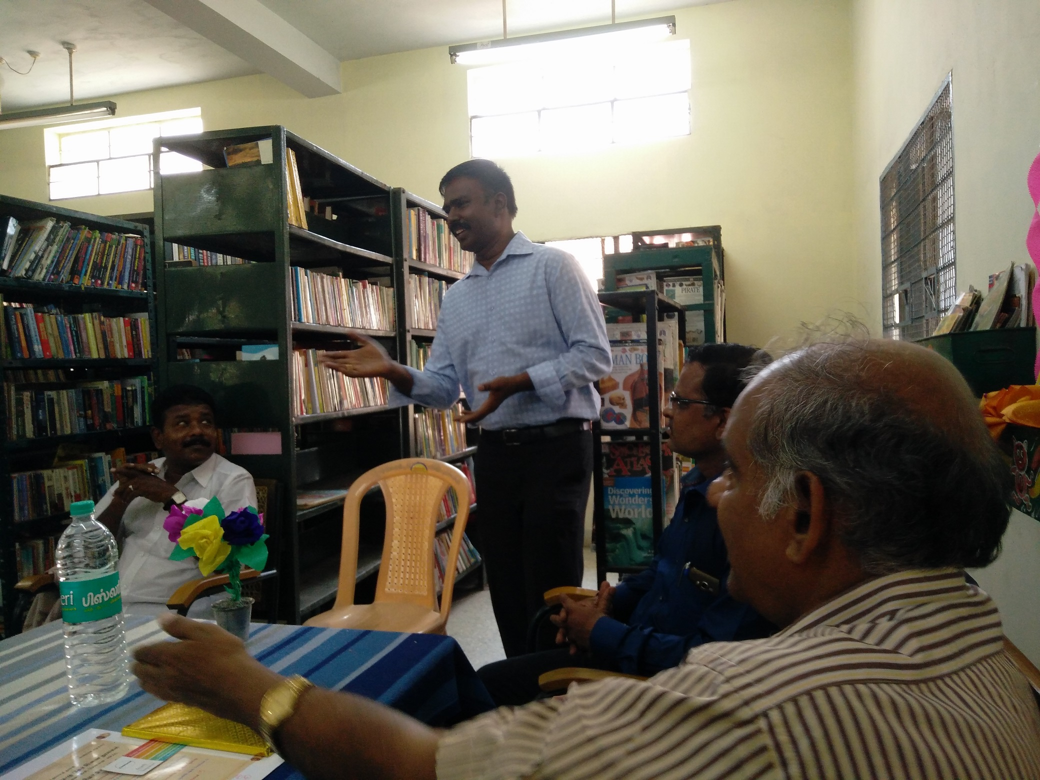Godwin Stanislaus speech in District Library, Dhandeeshwaram, Velachery, part of World Book Day 2018 Celebrations